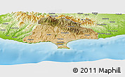 Satellite Panoramic Map of Limassol, physical outside
