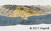 Satellite Panoramic Map of Limassol, semi-desaturated