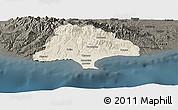Shaded Relief Panoramic Map of Limassol, darken