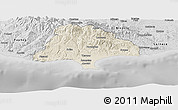 Shaded Relief Panoramic Map of Limassol, desaturated