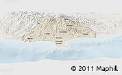 Shaded Relief Panoramic Map of Limassol, lighten