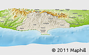 Shaded Relief Panoramic Map of Limassol, physical outside