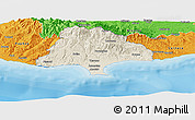 Shaded Relief Panoramic Map of Limassol, political outside
