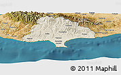 Shaded Relief Panoramic Map of Limassol, satellite outside