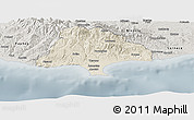 Shaded Relief Panoramic Map of Limassol, semi-desaturated