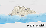 Shaded Relief Panoramic Map of Limassol, single color outside