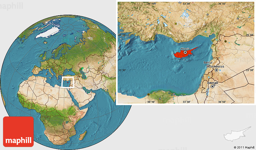 Where Is Cyprus Located On The World Map.Satellite Location Map Of Cyprus