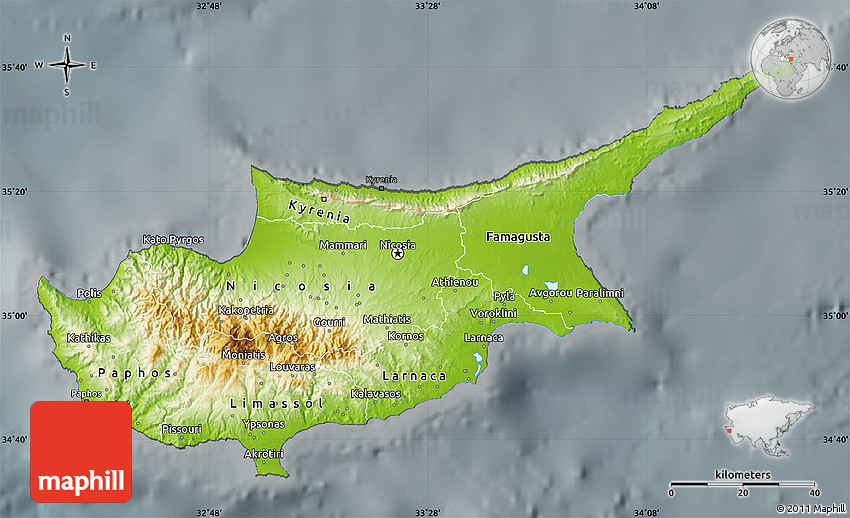 Physical map of cyprus darken semi desaturated 2d sciox Gallery