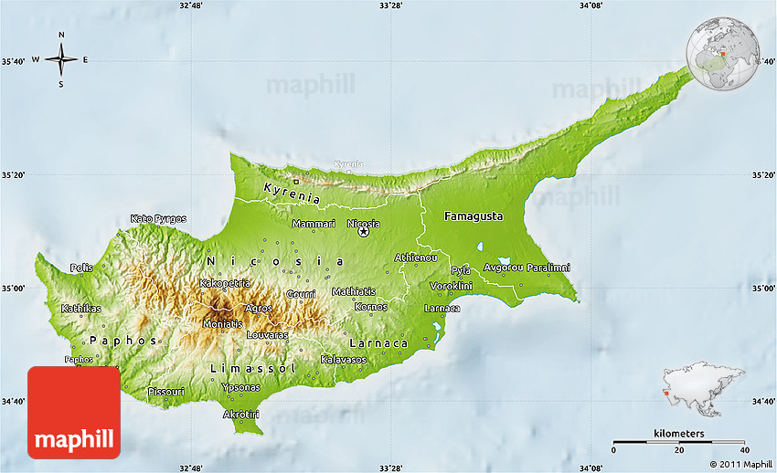 Physical map of cyprus lighten 2d sciox Gallery