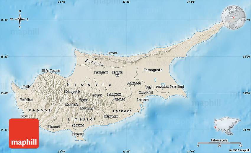 Shaded Relief Map of Cyprus