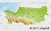 Physical Map of Nicosia, single color outside