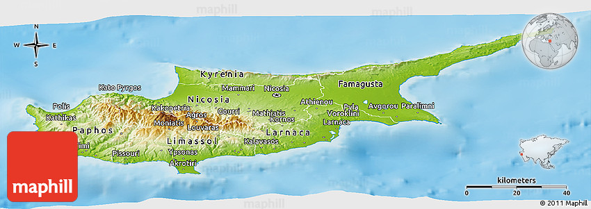 Physical panoramic map of cyprus single color outside 2d sciox Gallery