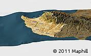 Satellite Panoramic Map of Paphos, darken