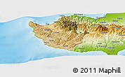 Satellite Panoramic Map of Paphos, physical outside