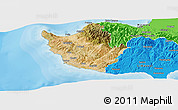 Satellite Panoramic Map of Paphos, political outside