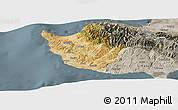 Satellite Panoramic Map of Paphos, semi-desaturated