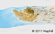 Satellite Panoramic Map of Paphos, shaded relief outside