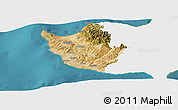 Satellite Panoramic Map of Paphos, single color outside