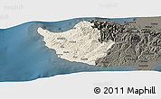 Shaded Relief Panoramic Map of Paphos, darken