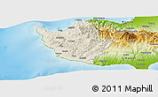 Shaded Relief Panoramic Map of Paphos, physical outside