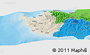Shaded Relief Panoramic Map of Paphos, political outside