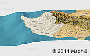 Shaded Relief Panoramic Map of Paphos, satellite outside