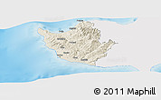 Shaded Relief Panoramic Map of Paphos, single color outside