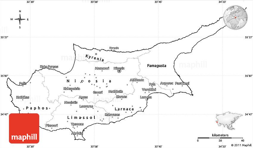 Blank Simple Map Of Cyprus - Cyprus blank map