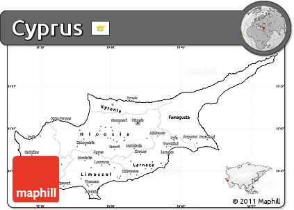 Free Blank Simple Map Of Cyprus - Cyprus blank map