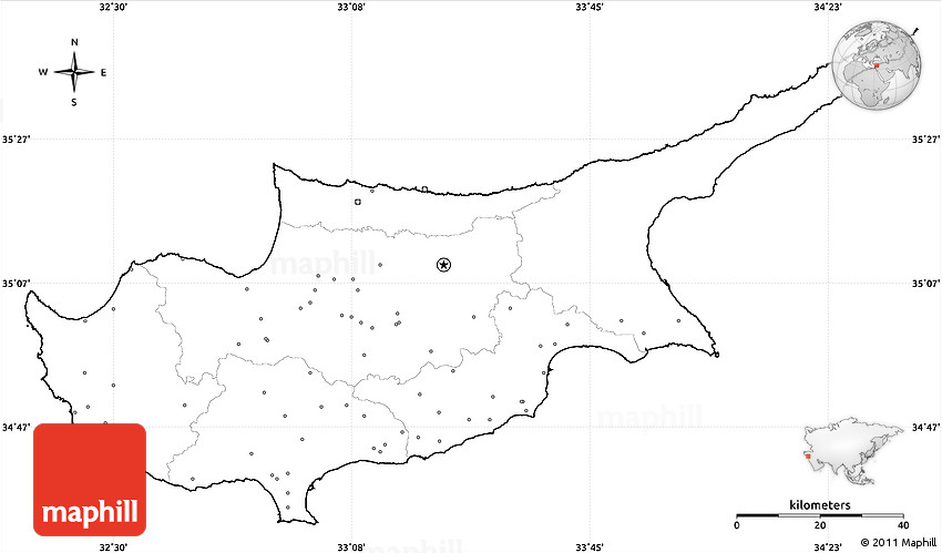 Blank Simple Map Of Cyprus No Labels - Cyprus blank map
