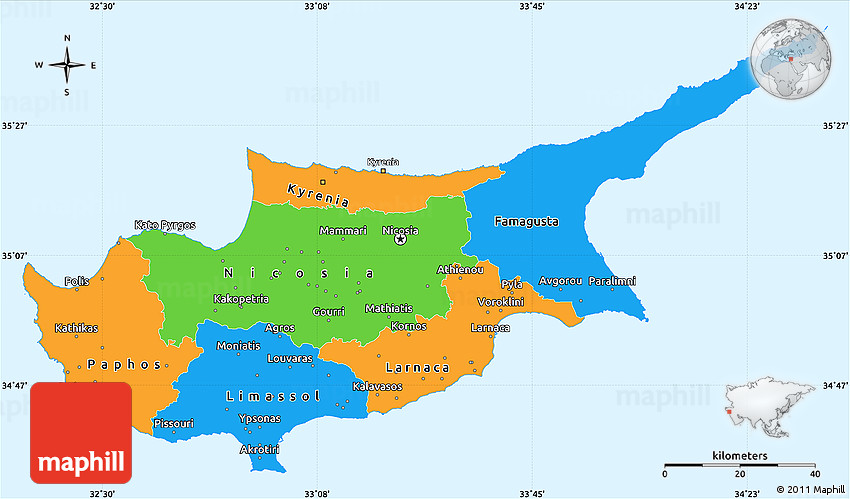 Political Simple Map of Cyprus