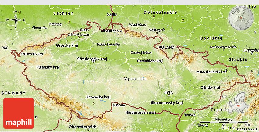 Physical 3D Map of Czech Republic