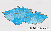 Political Shades 3D Map of Czech Republic, cropped outside