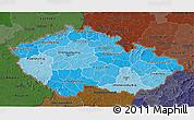 Political Shades 3D Map of Czech Republic, darken