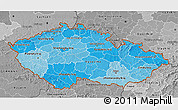 Political Shades 3D Map of Czech Republic, desaturated