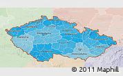 Political Shades 3D Map of Czech Republic, lighten