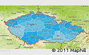 Political Shades 3D Map of Czech Republic, physical outside
