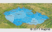 Political Shades 3D Map of Czech Republic, satellite outside