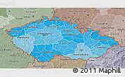 Political Shades 3D Map of Czech Republic, semi-desaturated