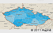 Political Shades 3D Map of Czech Republic, shaded relief outside
