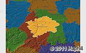 Political Map of hl.m. Praha, darken