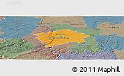 Political Panoramic Map of hl.m. Praha, semi-desaturated