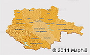 Political Shades 3D Map of Jihočeský kraj, cropped outside