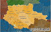 Political Shades 3D Map of Jihočeský kraj, darken