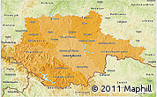 Political Shades 3D Map of Jihočeský kraj, physical outside