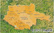 Political Shades 3D Map of Jihočeský kraj, satellite outside