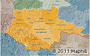 Political Shades 3D Map of Jihočeský kraj, semi-desaturated