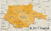 Political Shades 3D Map of Jihočeský kraj, shaded relief outside