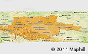 Political Shades Panoramic Map of Jihočeský kraj, physical outside