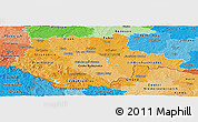 Political Shades Panoramic Map of Jihočeský kraj